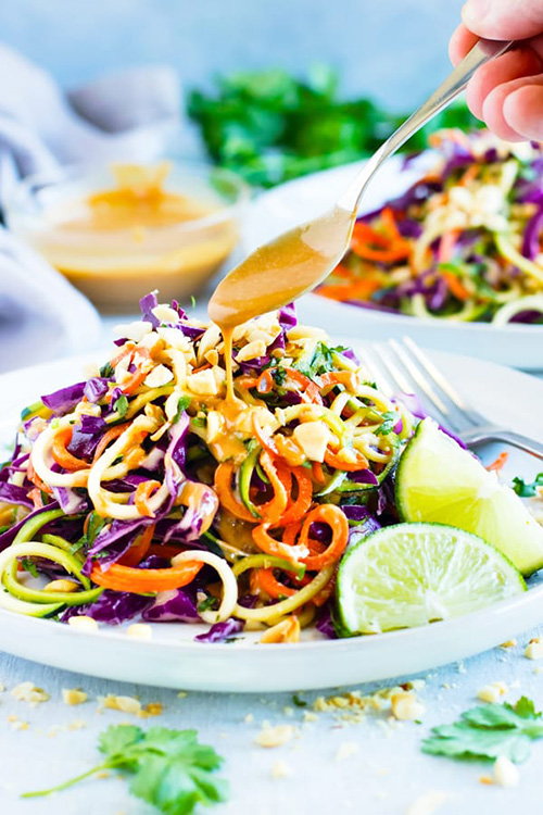 Thai Zucchini Noodle Salad with Cabbage  by  Evolving Table