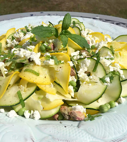 (Zucchini) Courgette Pea and Feta Salad  by  Emma Eats and Explores