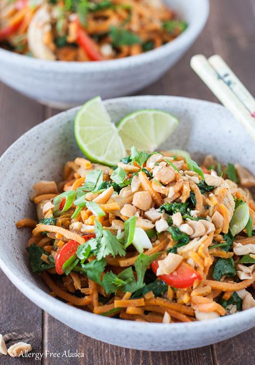 Thai Chicken Sweet Potato Noodle Bowls  by  Allergy Free Alaska