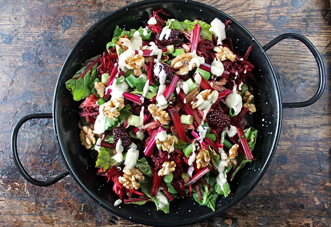 Beetroot and Blackberry Salad with Tahini Dressing  by  Veggie Desserts