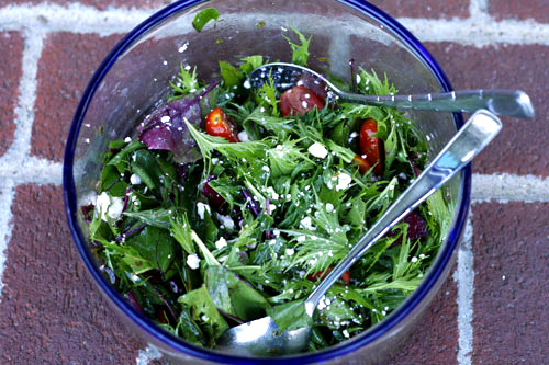 Mustard Greens and Beet Greens Salad with Herb Vinaigrette  by  Sarah's Cucina Bella