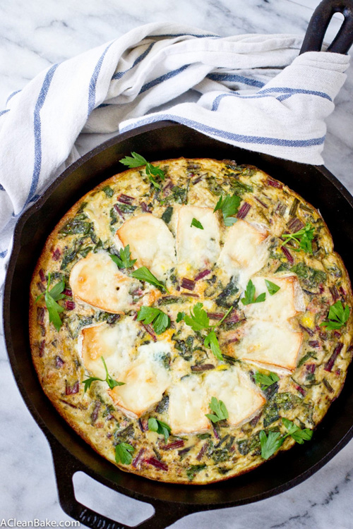 One Pan Baked Brie and Beet Greens Frittata  by  A Clean Bake