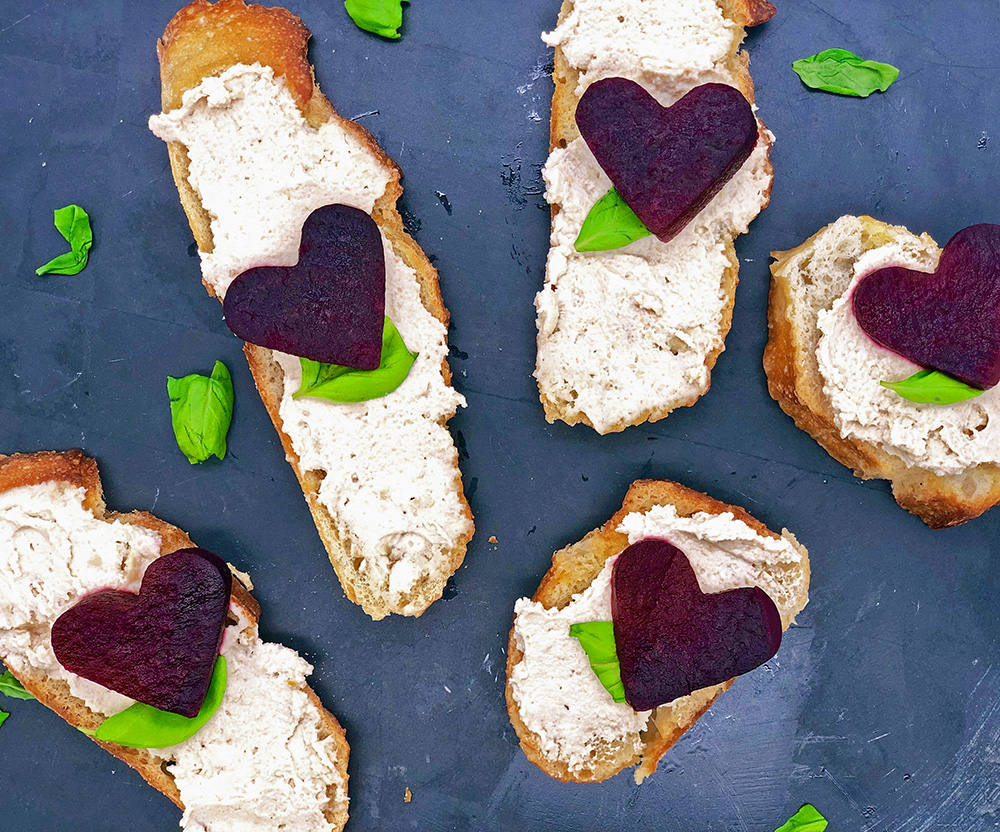 Roasted Heart Beets and Vegan Cashew Cream Cheese Crostini  by  Just Beet It