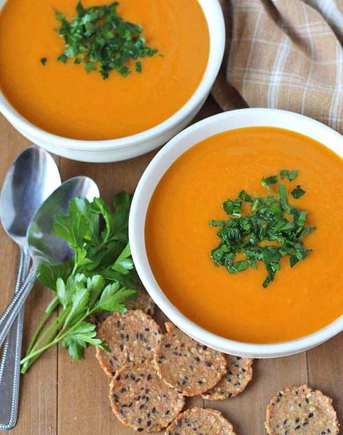 Butternut Squash Sweet Potato Carrot Soup  by  Delightful Adventures