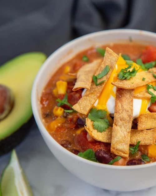 Instant Pot Tortilla Soup  by  Cardamom & Coconut