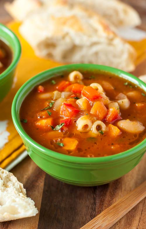 Vegetarian Minestrone Soup  by  Peas and Crayons