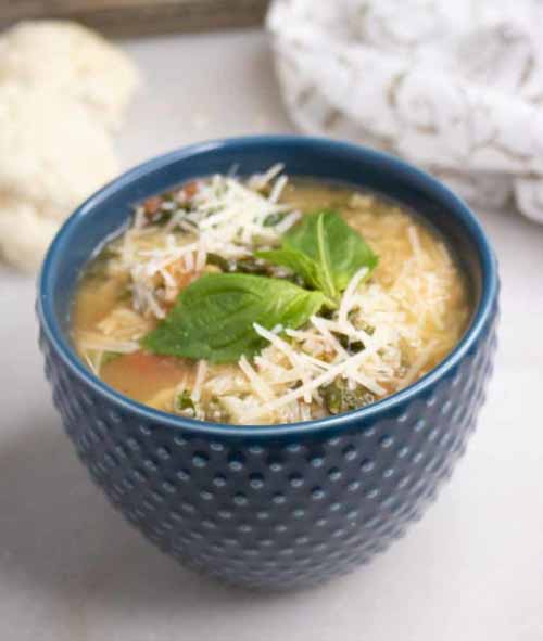 Roasted Cauliflower Rice Soup  by  Savvy Mama Lifestyle