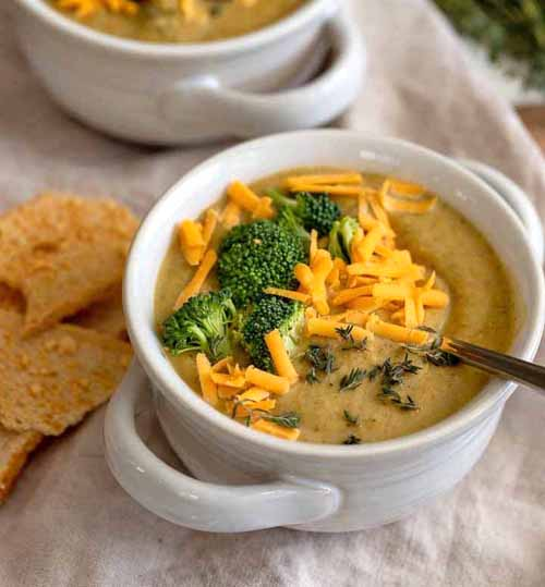 Healthy Instant Pot Broccoli Cheddar Soup  by  Nourish and Fete