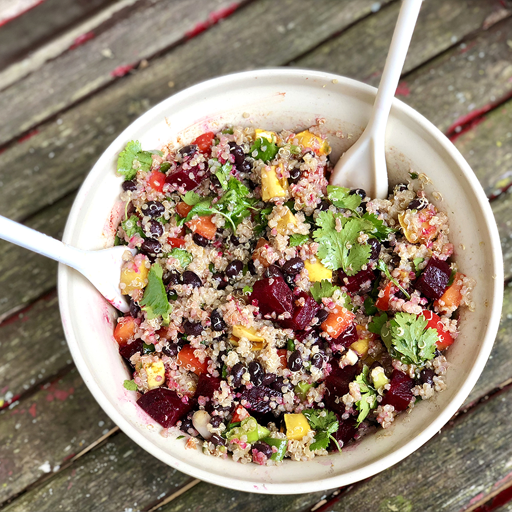 Roasted Beet and Delicata Squash Quinoa Salad with Black Beans