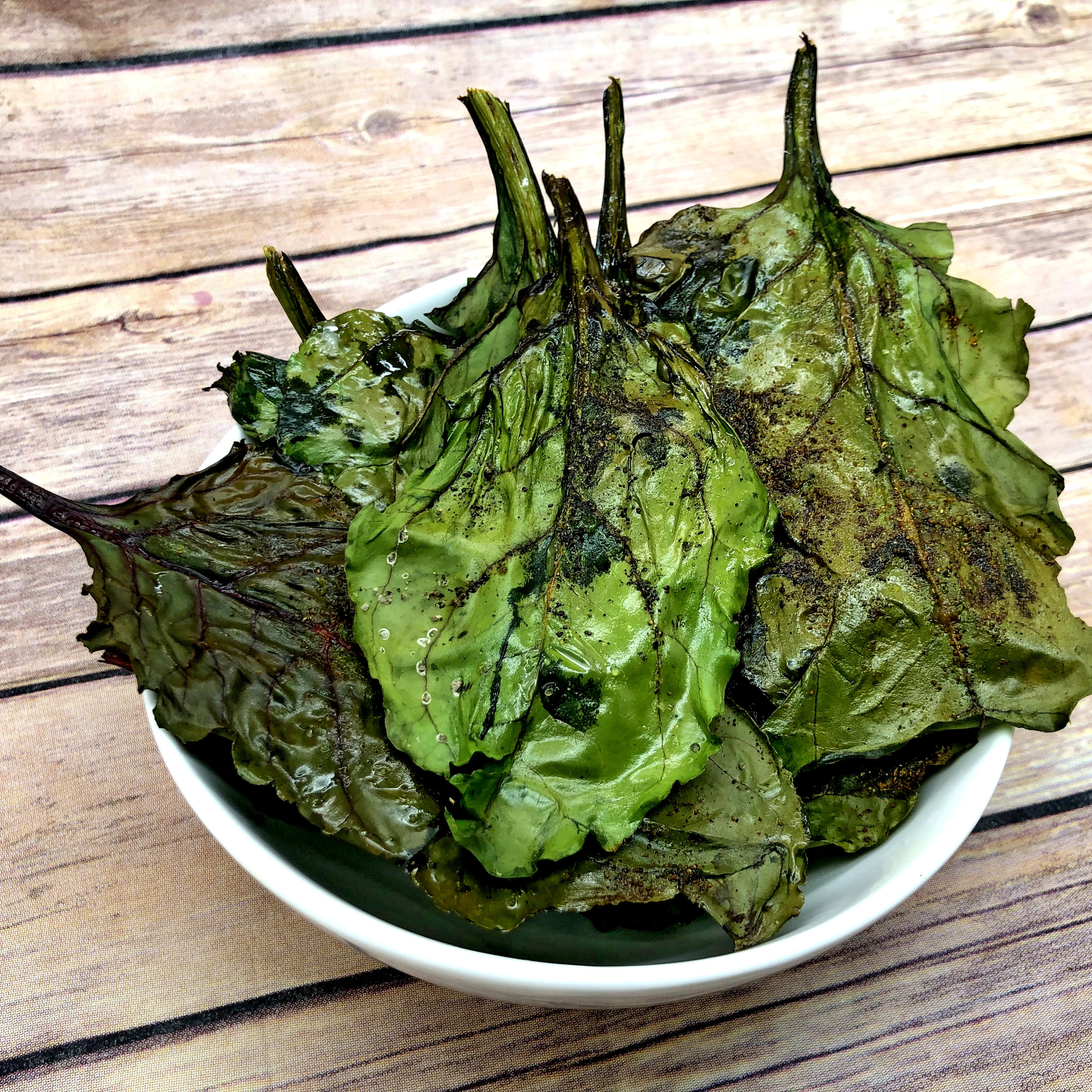 Baked Beet Greens Chips