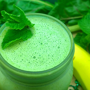 Minty Shamrock Vegan Smoothie with Beet Greens and Banana