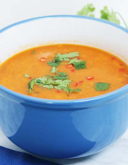 Roasted Sweet Potato and Butternut Squash Soup  by  Slow the Cook Down