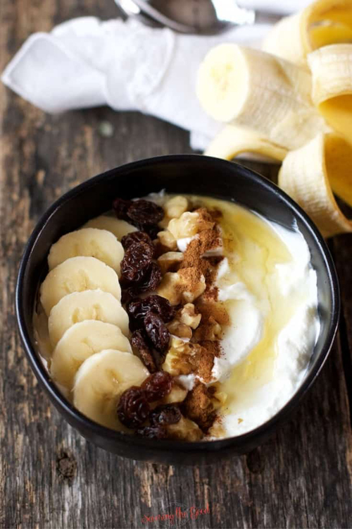 "BANANA BREAD YOGURT BREAKFAST SMOOTHIE BOWL     by  Savoring the Good    ""Yogurt breakfast bowls are a delicious way to get a protein-rich, creamy, and delicious start to your day or even an after school snack."""