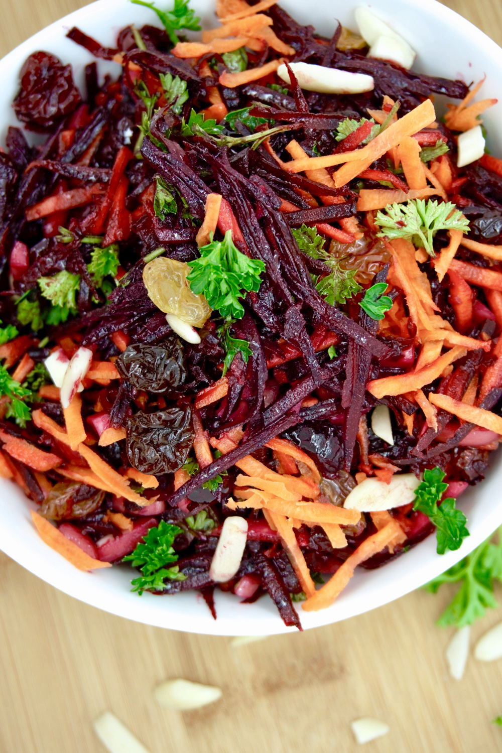 Beet and Carrot Raw Slaw Salad Vegan