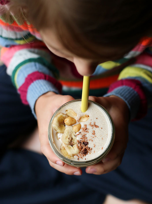 Banana, Peanut-Butter, and Almond-Milk Shake  by  My Poppet   This scrumptious kid-friendly smoothie is packed with protein and calcium.