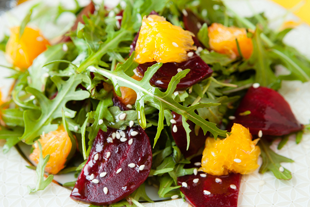 Roasted Beet Orange Salad with Lemon Garlic Vinaigrette  by  Just Beet It
