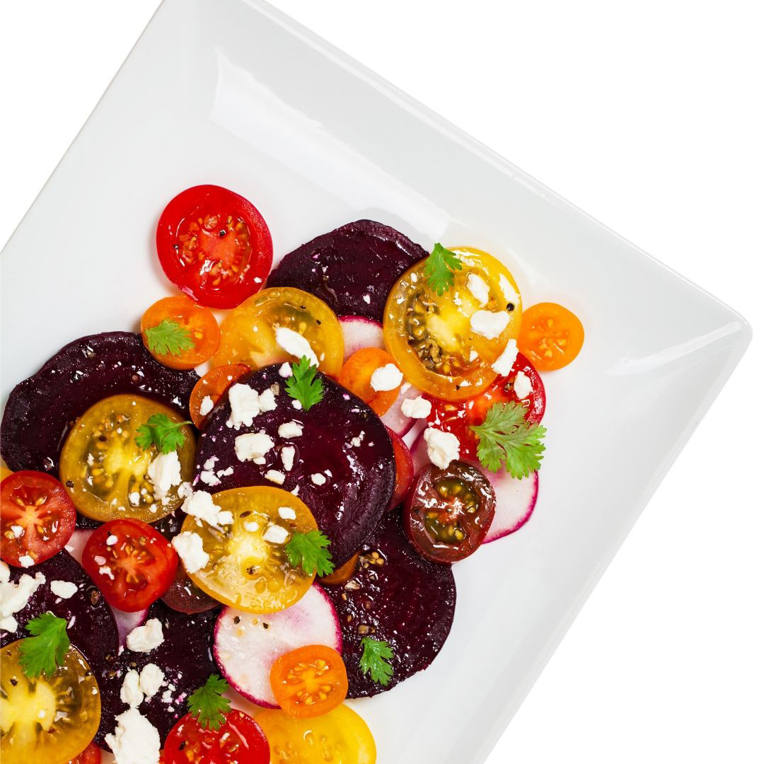 Roasted Beet, Heirloom Tomato and Goat Cheese Salad
