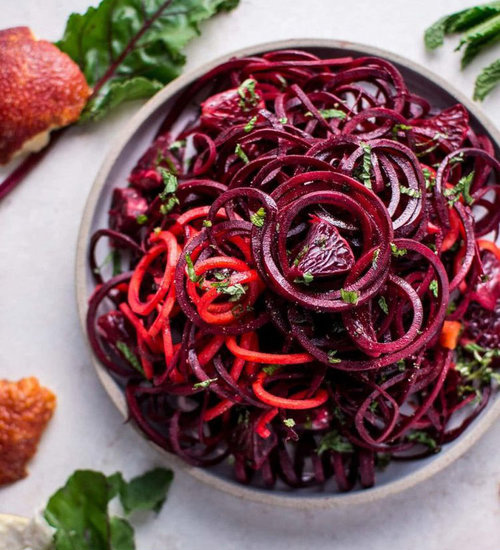 Spiralized Raw Beet Salad with Blood Oranges  by  Salt and Lavender