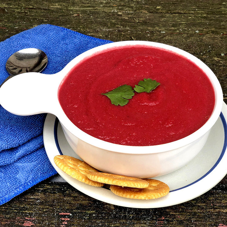 Vegan Beet Apple Carrot and Ginger Soup  by  Just Beet It