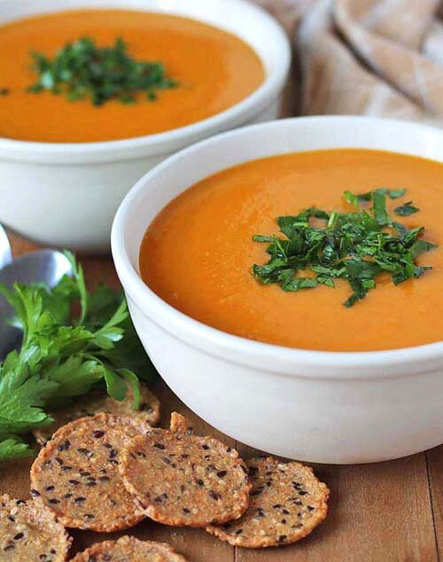 Vegan Butternut Squash, Sweet Potato, and Carrot Soup  by  Delightful Adventures