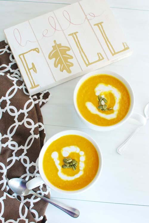 Vegan and Gluten-Free Pumpkin Soup  by  Dairy Free for Baby