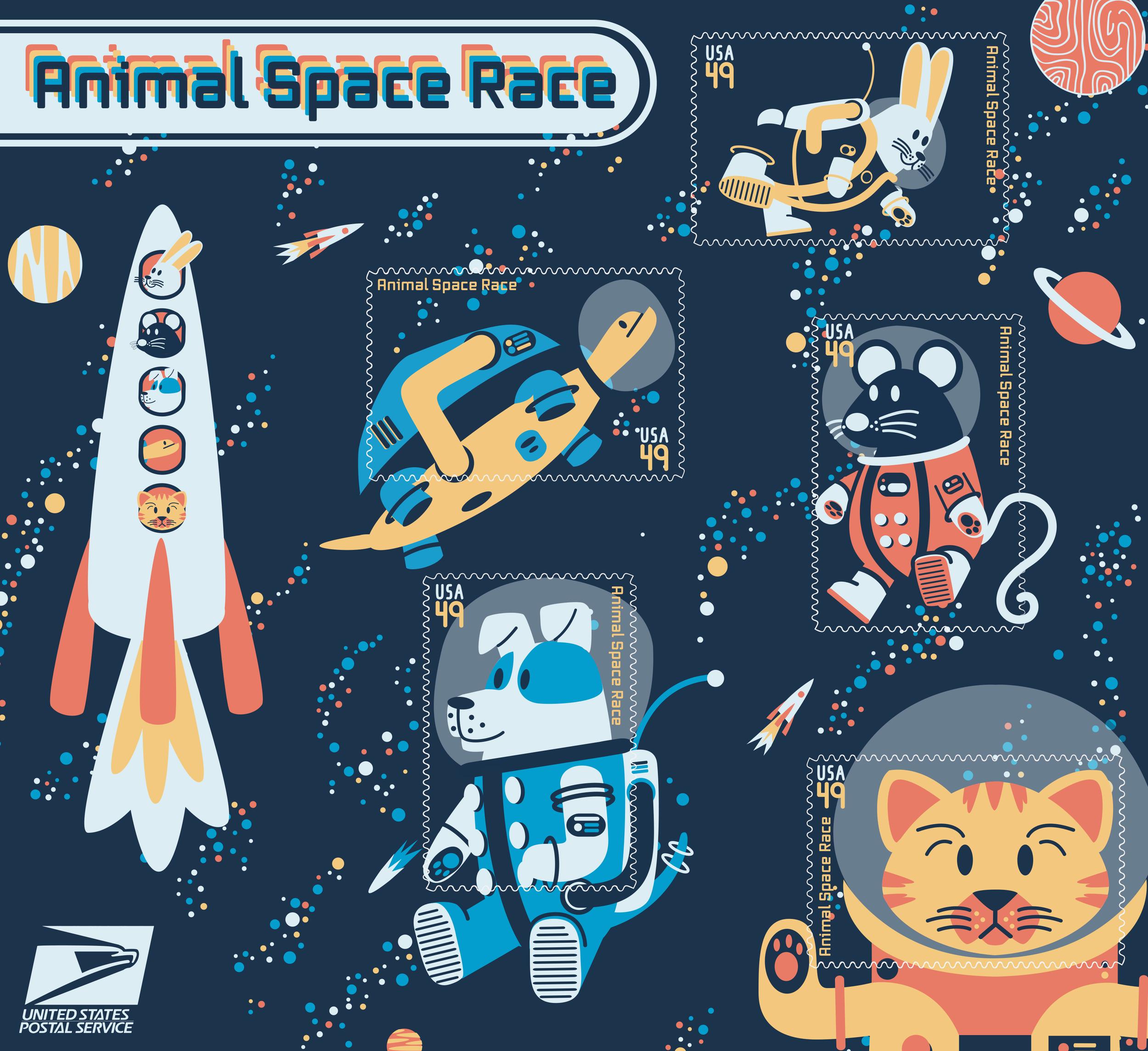 Space Animals Illustrated Stamp Set