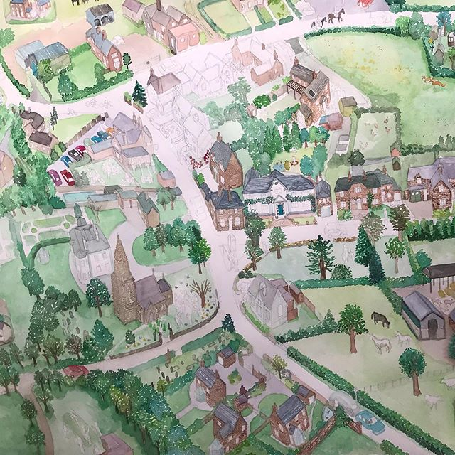 Almost ready for its ink... #lullington #illustration #villagemap #villageillustration #illustratedmap #derbyshire #derbyshirelife
