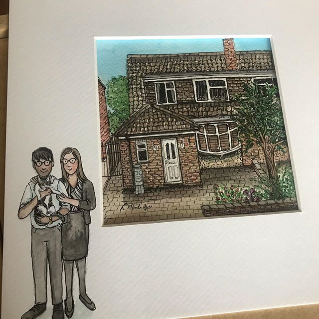 A recently commissioned house portrait, a gift for this couples first home together. #houseillustration #illustration #portrait #houseportrait