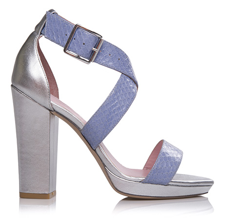 Pastel Blue Snake and Silver Shiny Soft Leather. The silver is a bit blingy, but I could maybe see it as a party shoe for True or Light Summer Yang Natural. Photo by Shoes of Prey.