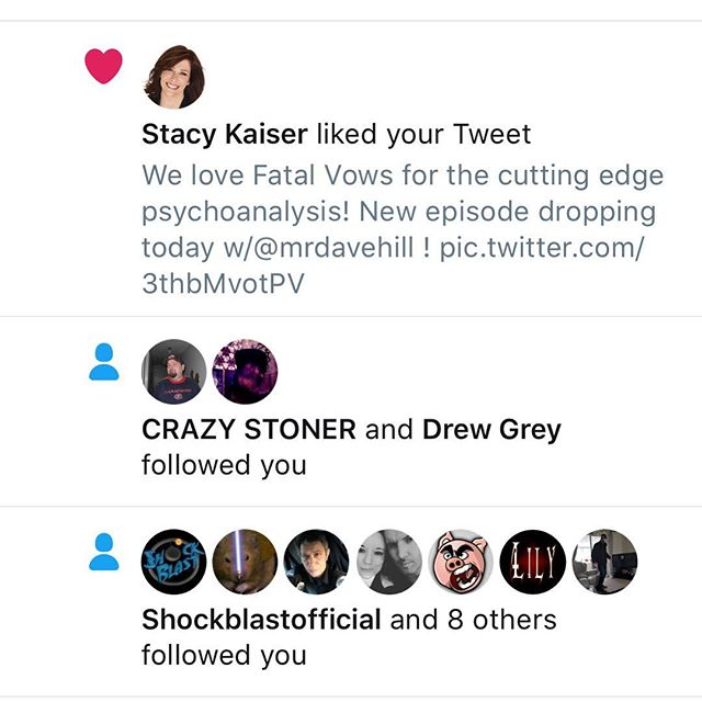 One half of @loveisamazingyo 's brain trust, Stacey Kaiser, from #fatalvows on @investigationdiscovery liked one of our memes.  Didn't even tag anyone... the universe works in weird ways...