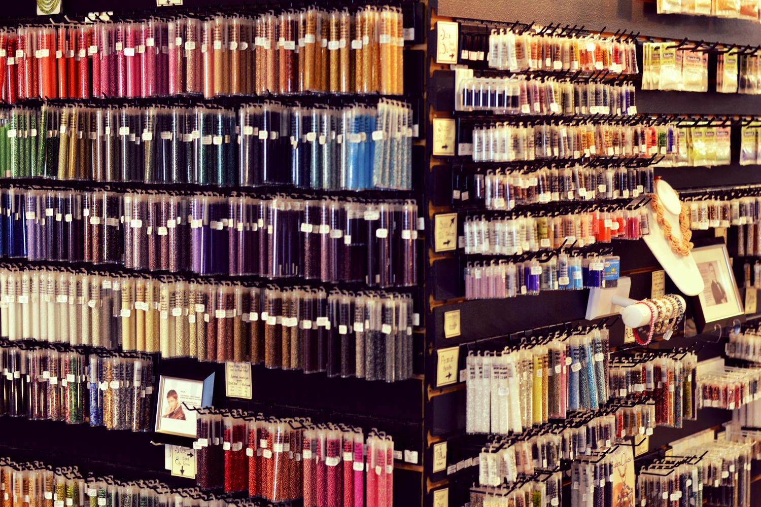 """""""The Wall"""" of seed bead tubes. Ahhh....lovley. . ."""
