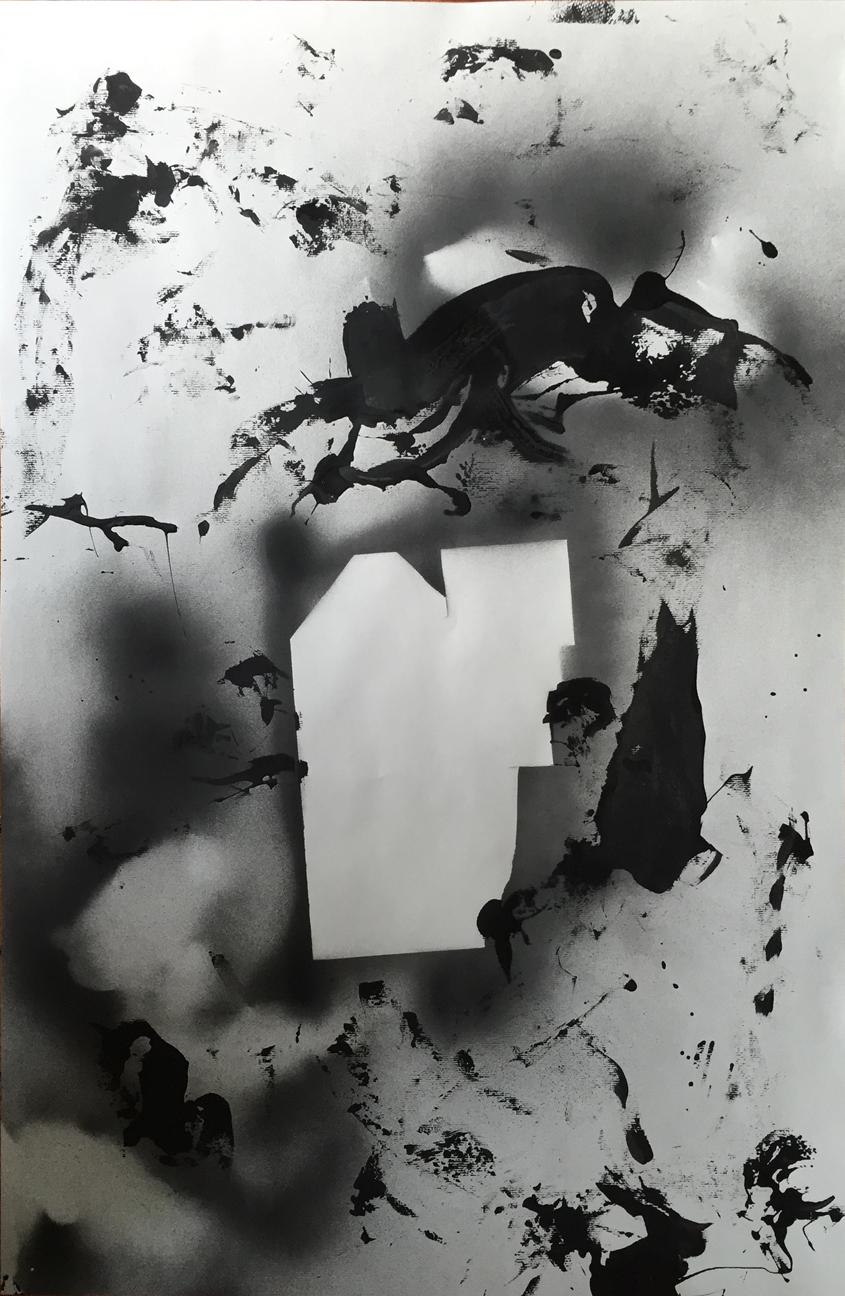 Untitled  2014 Enamel on paper 23 x 35 in.