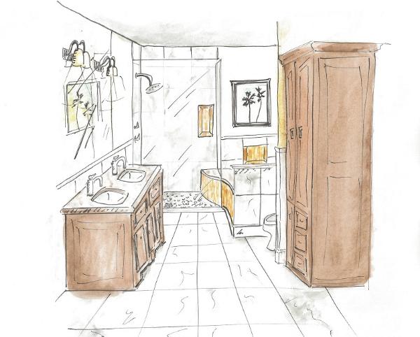 Hand Rendering - Irig Master Bath