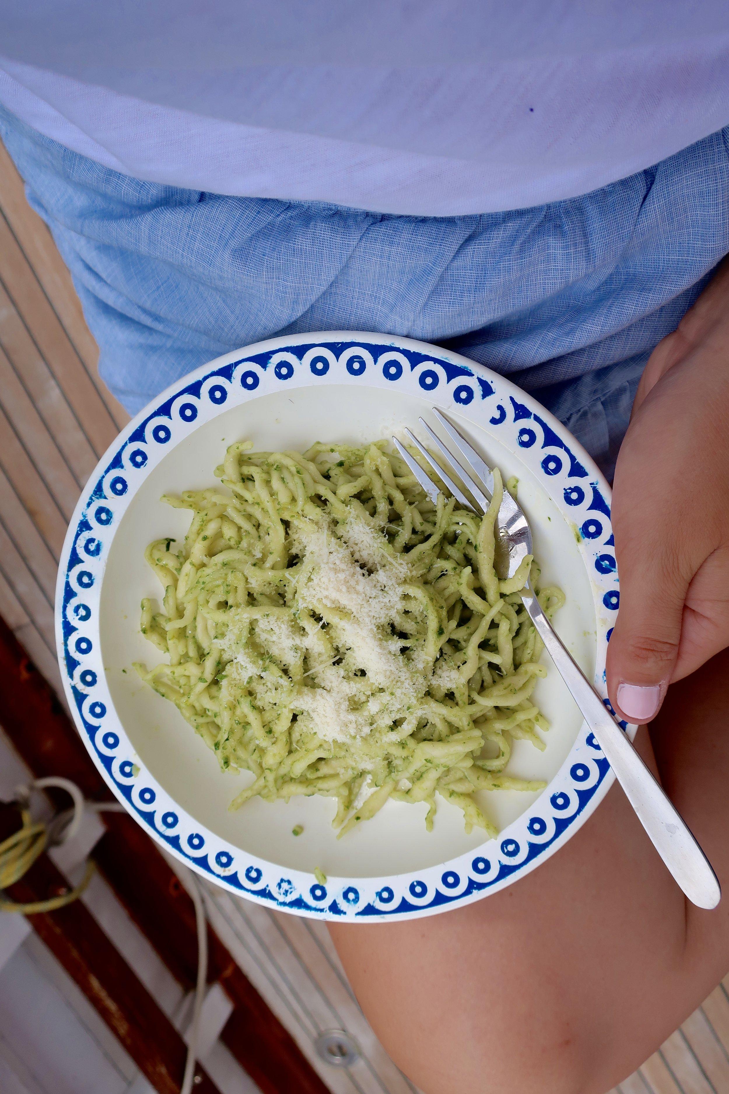 pesto pasta on the boat
