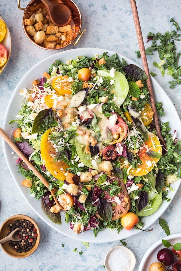 Tomato and Cherry Kale Salad with Lemon Vinaigrette