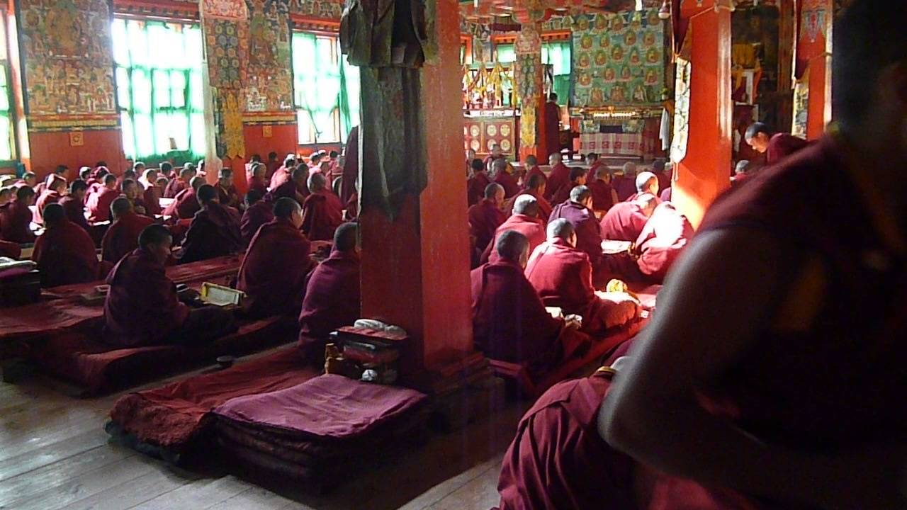 Monks performing puja at Thumpten Choling Monastery   Photo by Nomad Nepal