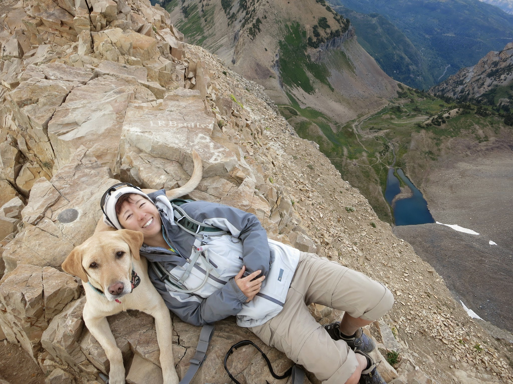 Wendy Lee chillin' with Tyke on the summit of Mt. Timpanogos. @adventuredogtype