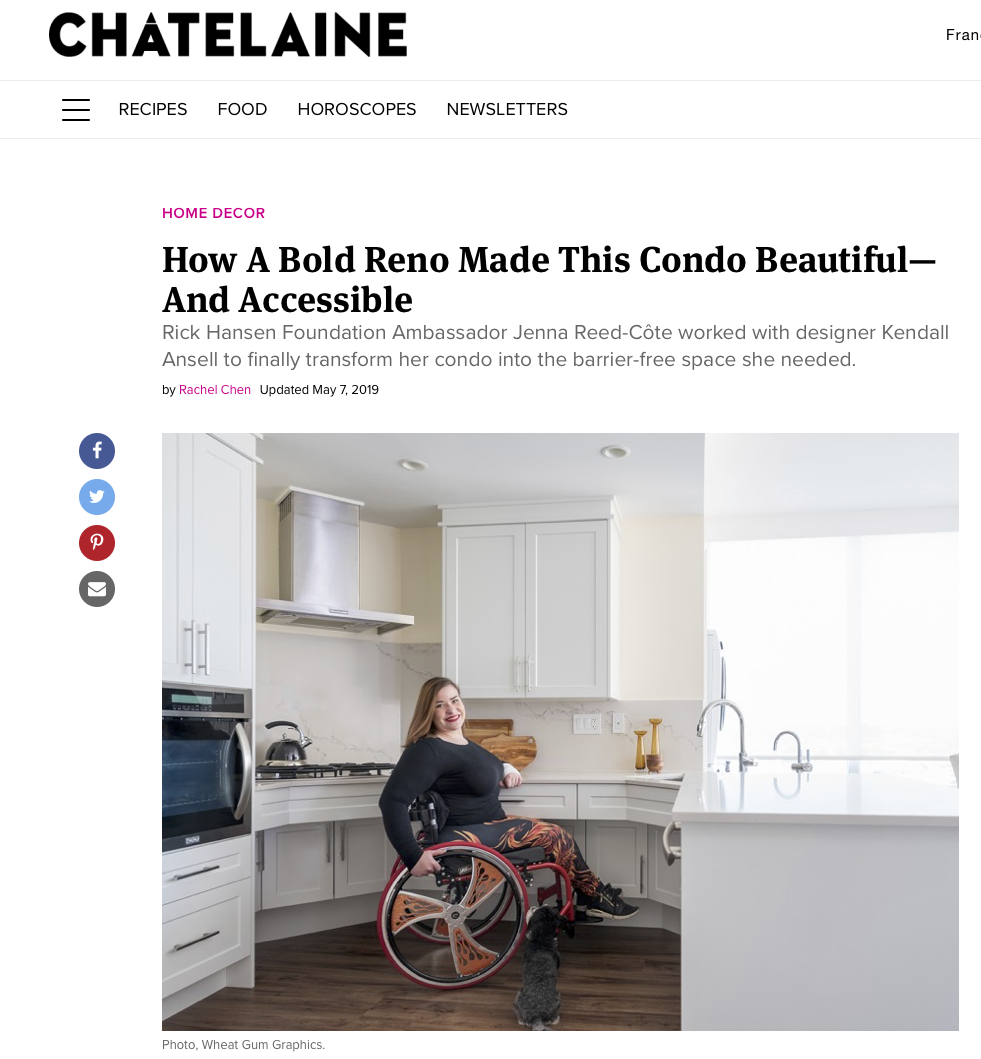 CHATELAINE     How A Bold Reno Made This Condo Beautiful—And Accessible  May 7, 2019 by Rachel Chen