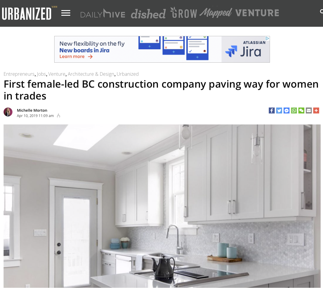 DAILY HIVE - URBANIZED VAN     First female-led BC construction company paving way for women in trades April 10, 2019 by Michelle Morton