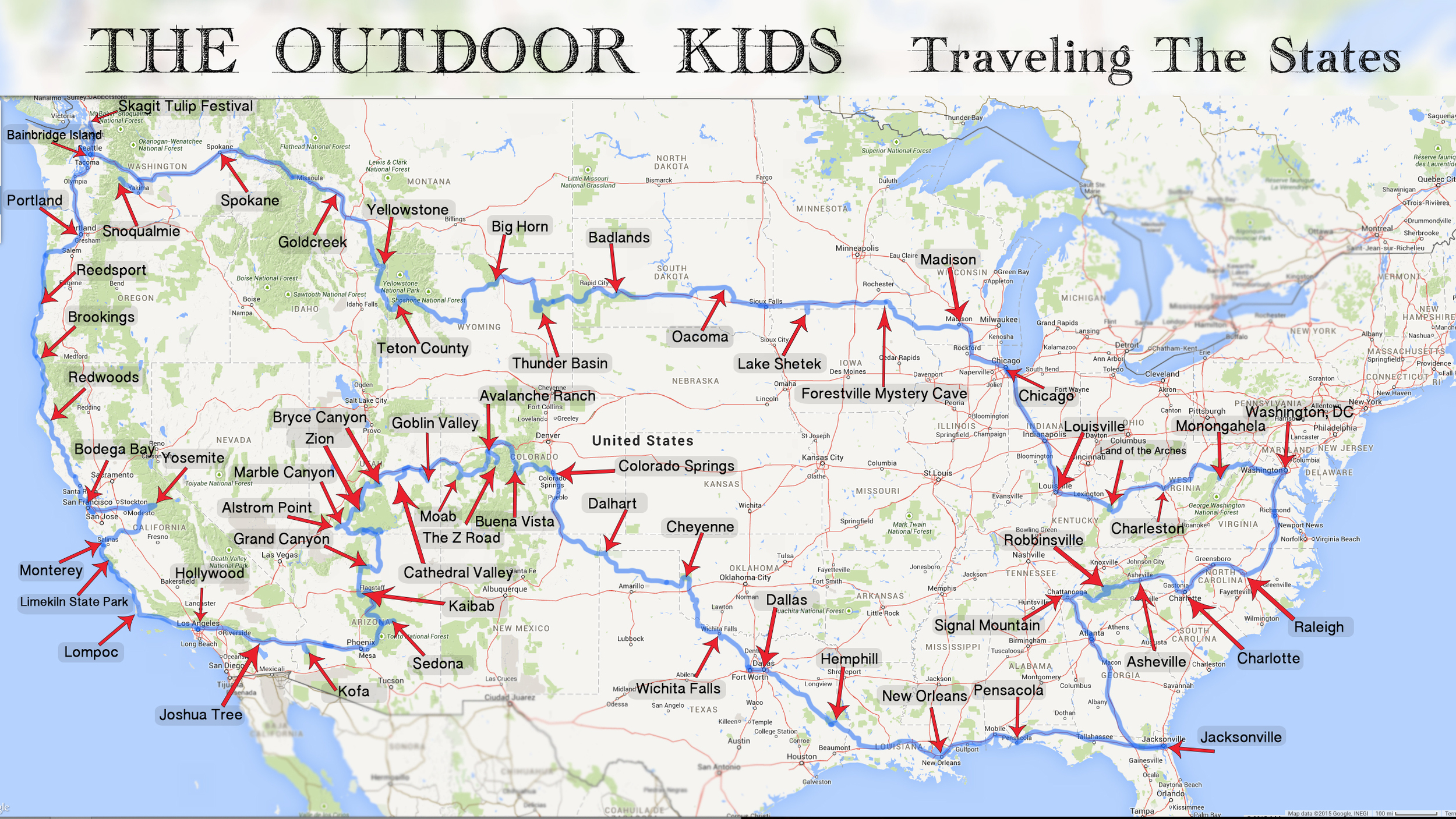 Our road trip itinerary starting in Hollywood, CA then moving North, East, South, then West.
