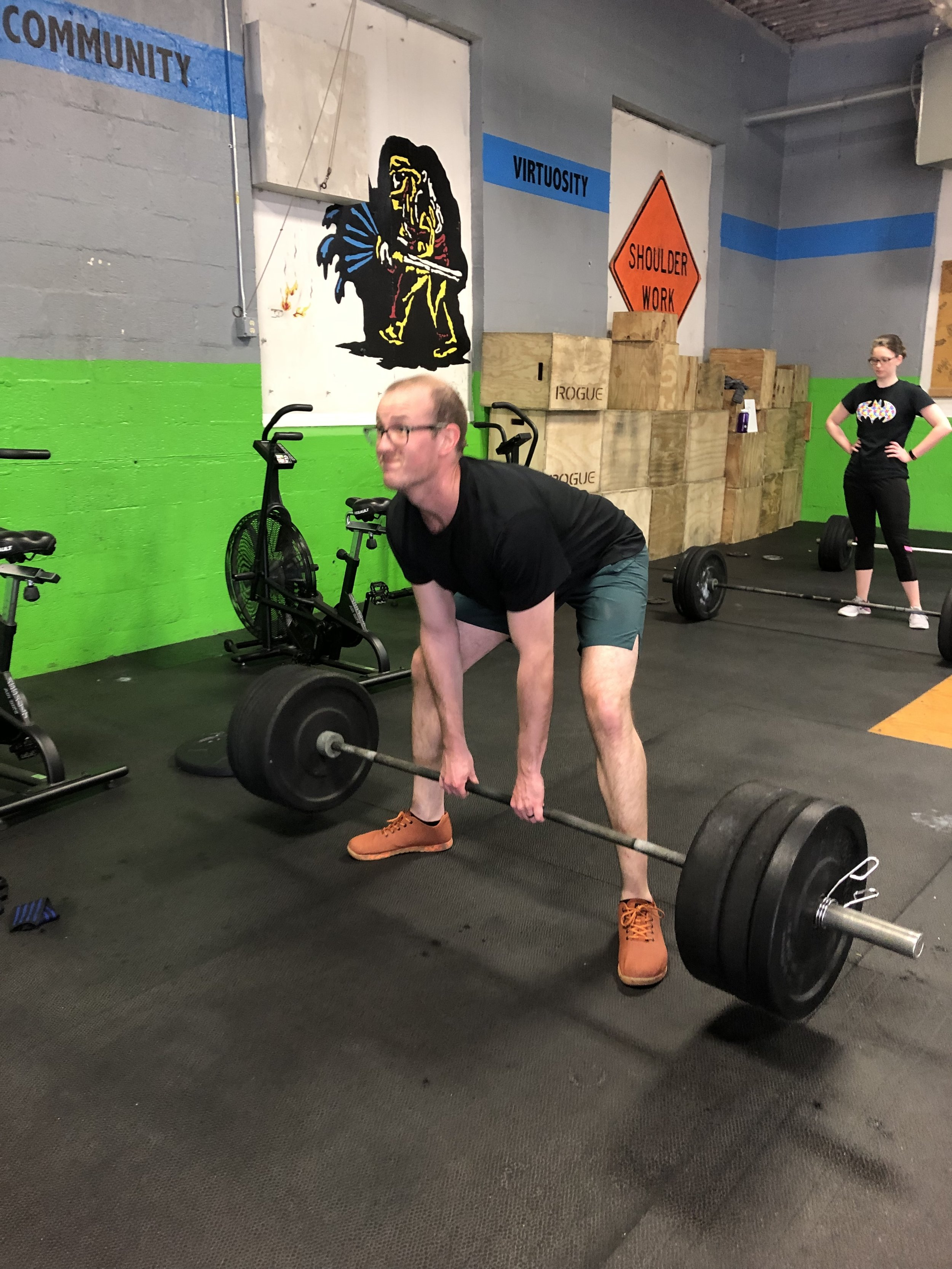 Bring Friend Day at 8:30!    Mod: Bench Press    Wod: TM 3   20:00 AMRAP  athlete 1 - row 300m  Athlete 2&3 work through Amrap  10 Tire Flips  20 DB Hang Cleans (35/50)  30 DB alternating lunges (35/50)  40 Wallballs (14/20)