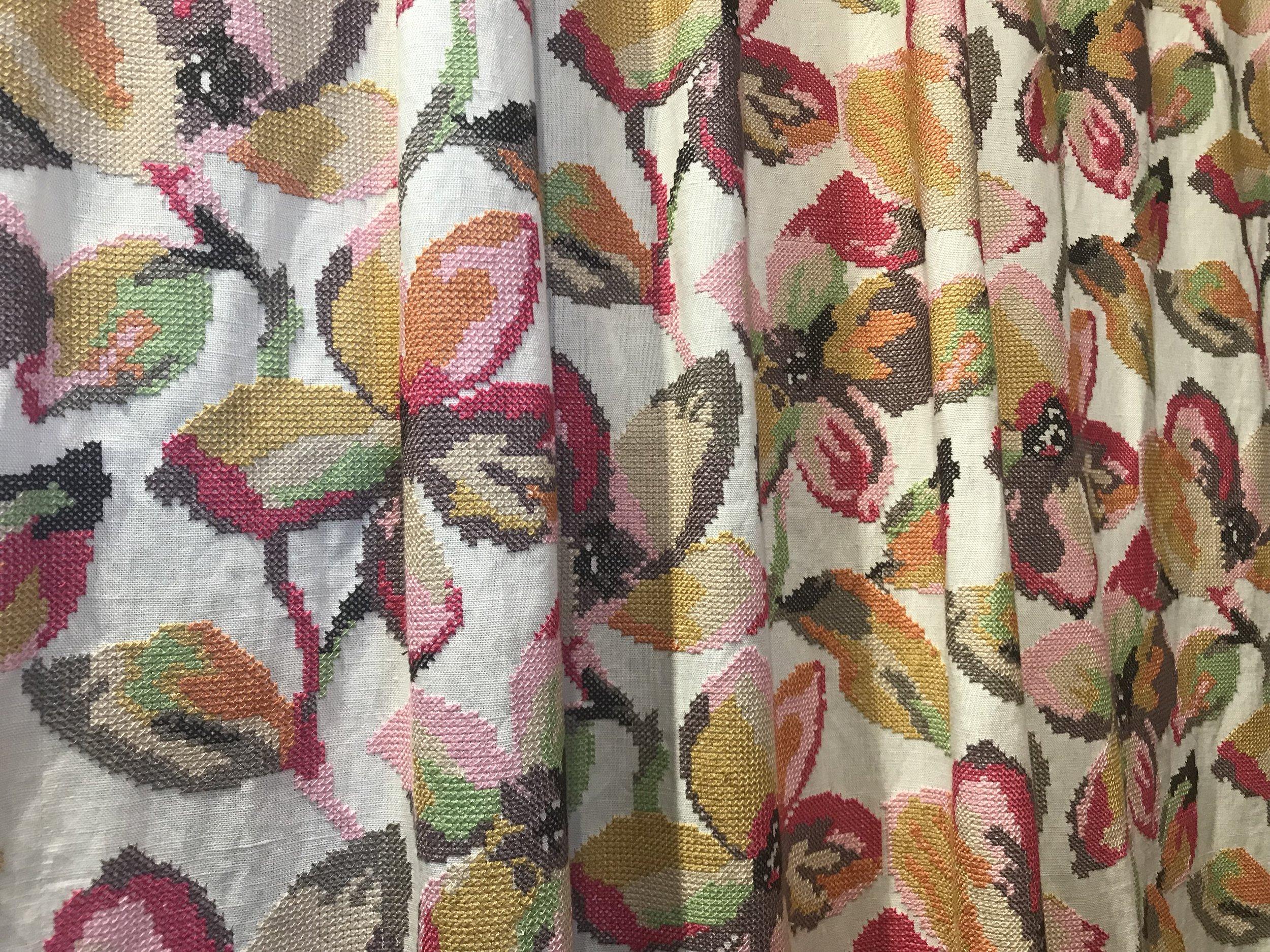 Jane Churchill Fontana cross stitched fabric