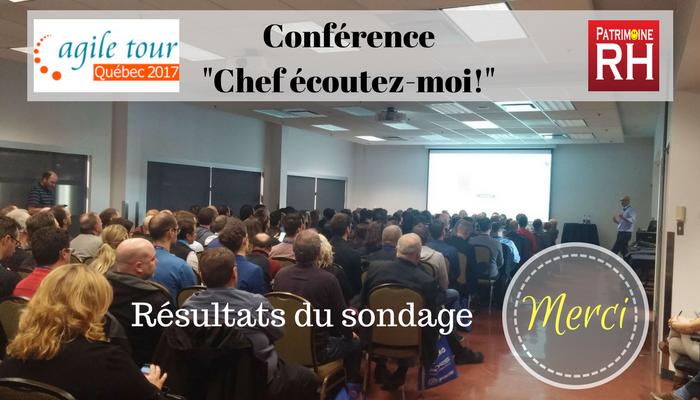 """Agile tour Québec 2017 - Conférence """"Chef écoutez-moi!"""" sur le concept des entreprises libérées -Patrimoine RH - Les conférenciers Sabine Pouillion et Philippe Zinser"""