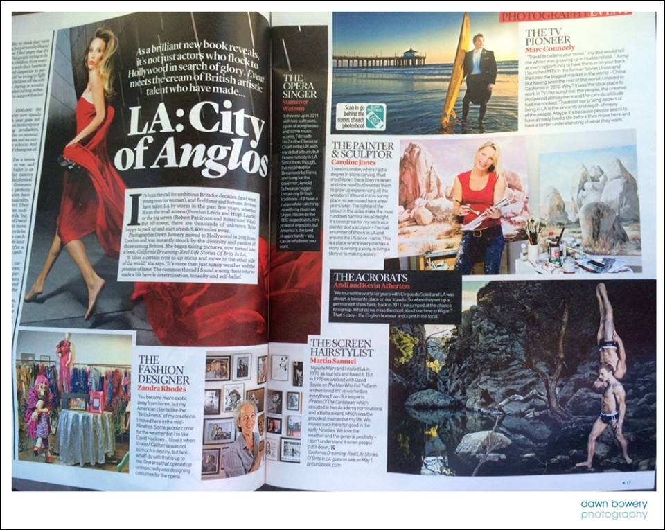 "Daily Mail. Mail on Sunday color supplement  "" LA City of Anglos""  - The painter, the sculptor - Caroline Jones"