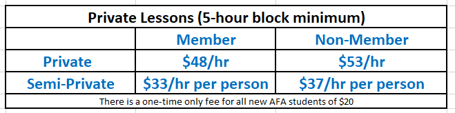 Prices effective as of July 18th, 2019  Additional discounts per hour can be obtained by purchasing larger blocks of private hours from the minimum