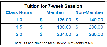 Prices effective as of July 18, 2019 with the registration of Session V (September 3rd start date).