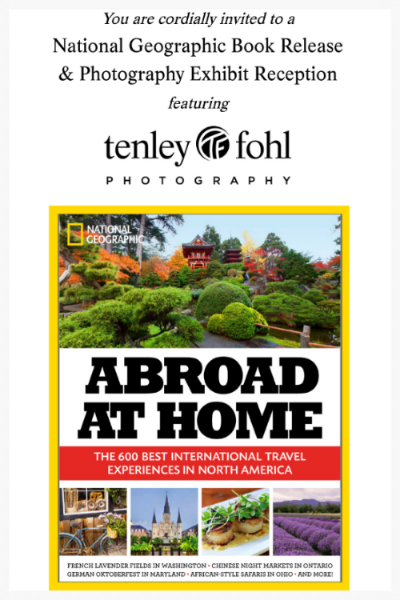"""""""National Geographic """"Abroad At Home' Book Release and Photo Exhibit Reception, Celebrating Photography of Solvang's Tenley Fohl"""" -- Santa Barbara SEASONS Magazine article by  Haley Kulik.   On March 18, 2015 Solvang's W ildling Museum hosteda book release for National Geographic's new   book """"Abroad at Home,"""" and aphoto exhibit reception celebrating the photography of Solvang's own Tenley Fohl, h er scallops photo on the cover of the book, as well as her Solvang windmill street scene photo inside the book on the section featuring Solvang, CA"""