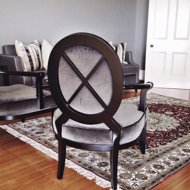 Cross Back Armchairs upholstered in Sanderson Taormina Velvet