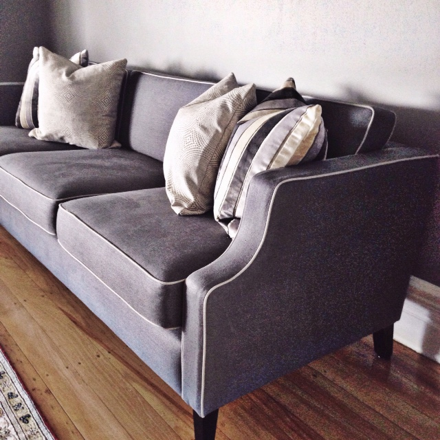 Piped Sofa upholstered in Westbury Textiles Glazed Linen