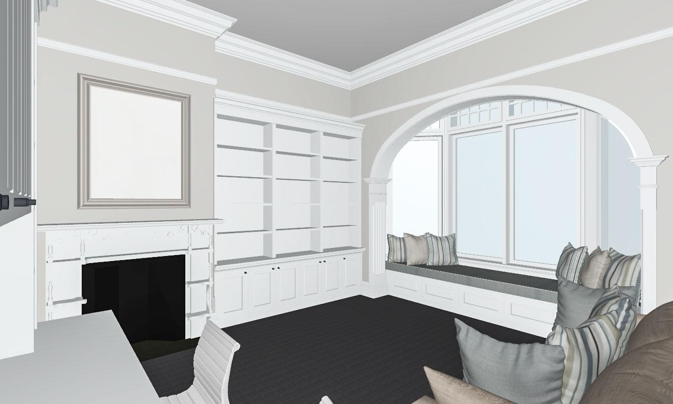 Built-in Window Seat, Bookshelf & Cupboard